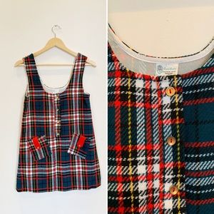 VINTAGE Sleeveless Plaid Pocket Dress